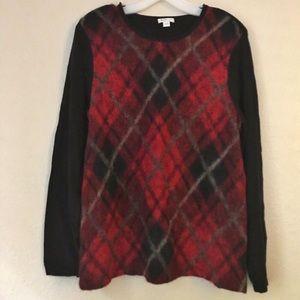 J. Jill Wool Blend Argyle Sweater